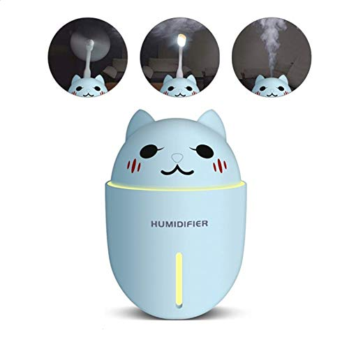 3 en 1 humidificador Mini humidificador de Aire USB con luz LED de Noche y Ventilador USB para el automóvil de casa 320ML,Blue