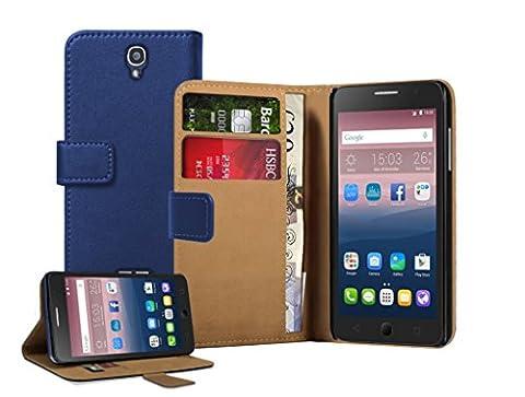 Membrane Coque Alcatel One Touch Pop Star 5022D Etui Bleu Portefeuille Flip Wallet PU Cuir Case Cover Housse