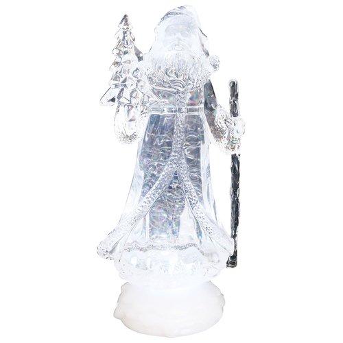 LED Glitzer-Wirbel, Eisblau leuchtender LED Weihnachtsmann, Santa, Höhe ca. 24cm