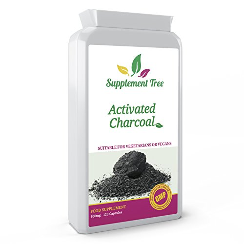 Activated Charcoal 300mg 120 Capsules - Steam Activated Charcoal Supplement Naturally Sourced From Coconut Shells, Digestive Function Support, High Absorption Toxin Cleansing - UK Manufactured - Suitable for Vegans & Vegetarians