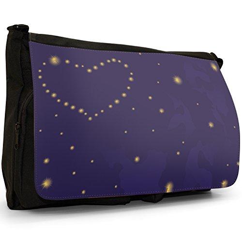 Nero cuori borsa scuola grande nero Angel Hearts Heart Made Of Stars In Night Sky