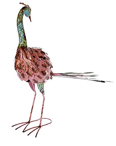 Homescapes Pink Reflecting Peacock Large Garden Ornament Distressed Painted Recycled