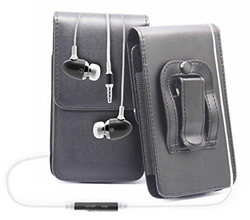 Schwarz / Black HTC Desire 500 Gürteltasche Handy Holster mit magnetischem Verschluss aus PU-Leder Schützhülle Cover mit sicherem Gürtelclip und 3,5mm Stereo-In-Ohr-Kopfhörern von Gadget Giant®