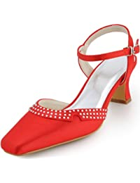 ElegantPark EP11033 Women Square Toe Chunky Heels Rhinestones Buckles Satin Party Wedding Court Shoes