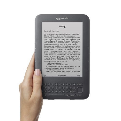 Kindle Keyboard 3G, eReader, gratis 3G + Wi-Fi, 15 cm (6 Zoll)  E Ink Display, englisches Menü