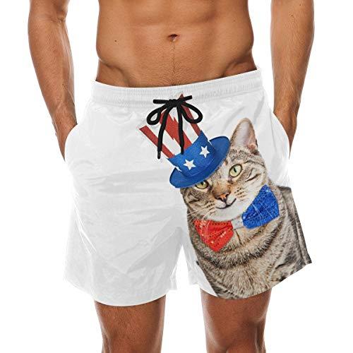 35df8de73e BHWYK Men's Funny American Patriotic Cat Beach Board Shorts Quick Dry Swim  Trunkfor Summer Vacations M