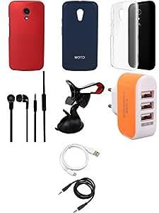 NIROSHA Cover Case Headphone USB Cable Mobile Holder Charger for Motorola G2 2nd Gen - Combo