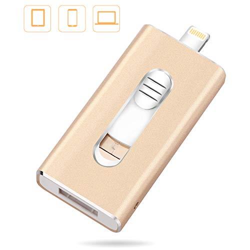 32GB Speicherstick USB Stick 2.0 - JUYUKEJI Flash-Laufwerk Externer Speicher Smartphone OTG mit Mikro USB und USB Anschluss, Kompatibel mit iPhone iPad Android und PC (Gold)
