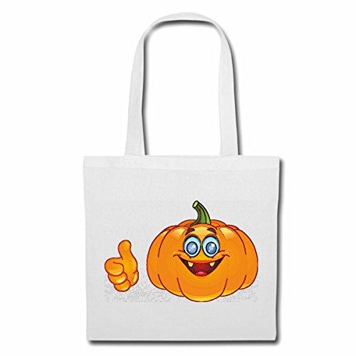 Tasche Umhängetasche LACHENDER Halloween KÜRBIS Smiley Smileys Smilies Android iPhone Emoticons IOS GRINSE Gesicht Emoticon APP Einkaufstasche Schulbeutel Turnbeutel in Weiß