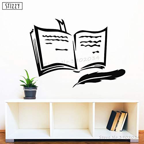 yiyiyaya Wandtattoo Abnehmbare Buch Design Vinyl Wandaufkleber Lesezeichen Kinderzimmer Dekoration Studie Kunstwandhauptdekor Poster 58 * 42 cm