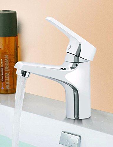 Srinivalei Waschtischarmatur Wasserhahn Armatur wasserfall für Badezimmer Einzigen Griff einzelne Bohrung heiße und kalte voll Kupfer Waschbecken Armaturen für Wanne Wasserhahn (Wanne Armaturen Einzelne)