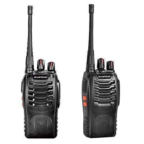 Artek BF-888S Rechargeable Long Range Walkie Talkie 16 Channels Two Way Radio with earpiece (1 Pair), Black (Line of Sight: 1-2 Kms)