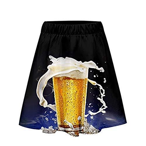 Selbstgemacht Dschungel Kostüm - NEEKY Damen 3D Oktoberfest Print Lose Freizeitrock Beer Festival KostüMe(XXL,Blau)