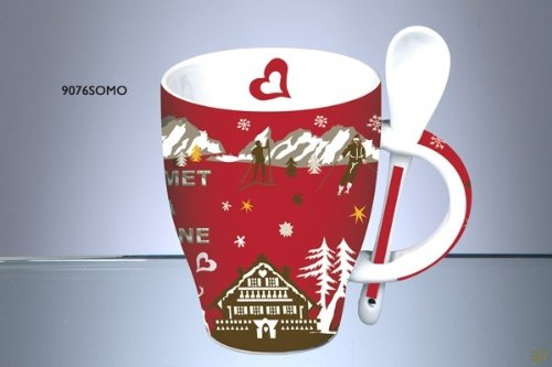 Fox Trot 9076SOMO Mug avec Cuillère Céramique Sommet Rouge 11 x 8,5 x 12 cm