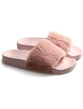 Fitory Damen Hausschuhe Plüsch Süße Rosa Schwarz Weiche Indoor/Outdoor Pantoffeln mit Pelz Rutschfeste