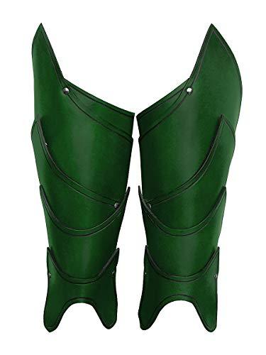 Andracor - Fantasy Beinschienen aus echtem Leder - Schuppendesign und geflammte Optik - LARP Mittelalter Wikinger & Cosplay - ()