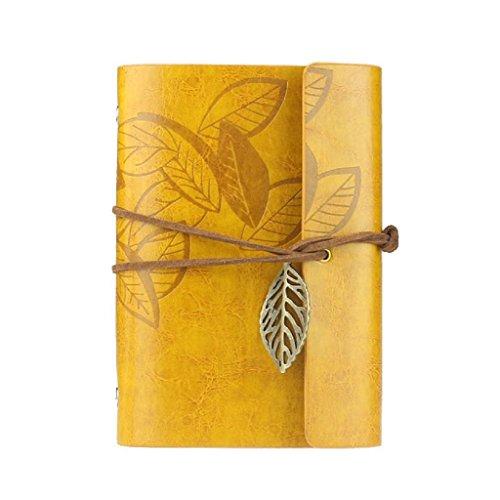 Vovotrade Vintage Cuaderno de Cuero PU Diario Bloc de Notas con Colgante Hoja Nuevo (amarillo)