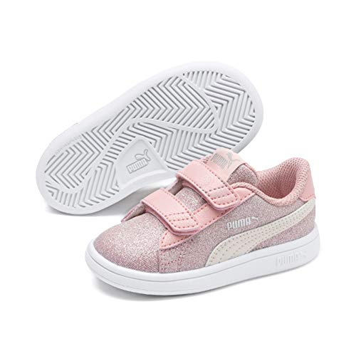 Puma Mädchen Smash v2 Glitz Glam V Inf Sneaker, Bridal Rose-Pastel Parchment Silver White, 27 EU