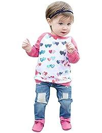 2PCS Bebé Impresión corazón manga larga Camisa+Denim pantalones ropa Conjunto,Yannerr Recién nacido niña niño primavera vaqueros tejana bordada Jeans top mono abrigada abrigo traje