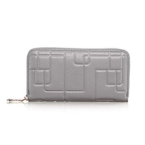 CLOTHES- Sacchetto di borsa dell'inarcamento della borsa del raccoglitore del cuoio della signora della borsa Sezione lunga Semplicità di svago Borsa di multi-card di capacità elevata ( Colore : Viola Grigio