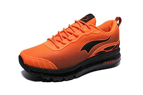 Onemix Chaussures Jogging Course Gym Air Baskets Lacet Sneakers Respirante pour Homme Orange