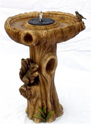 Fontaine Bain d'oiseaux solaire Écureuil - H74cm
