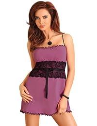 violettes Negligee Nachthemd mit edler schwarzer Spitze