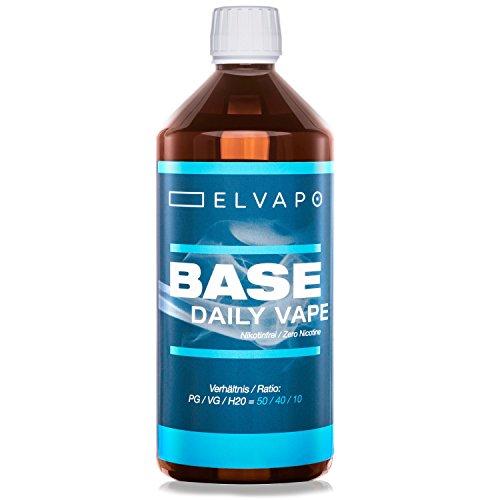 Elvapo BASE - Daily Vape   1000ml / 1L   50/40/10 (PG/VG/H2O)   Basisliquid für das Mischen von E-Liquids mit Aromen (für E-Zigaretten/E-Shishas)   0mg (ohne Nikotin)   Liquid-Basen Made in Germany!