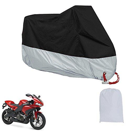 Haosen Impermeable a prueba de polvo Funda para Moto / XXXL 265x105x125cm / Anti UV Respirable Protectores para Moto Con bolsa de almacenamiento (Negro+Plata)