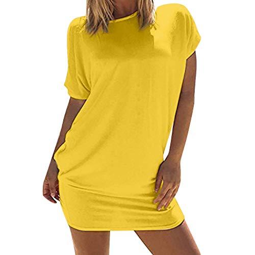 Nyuiuo Sommer Damen lässig kurzärmlig locker kurzes beinloses Kleid Elegantes modisches Kleid des...