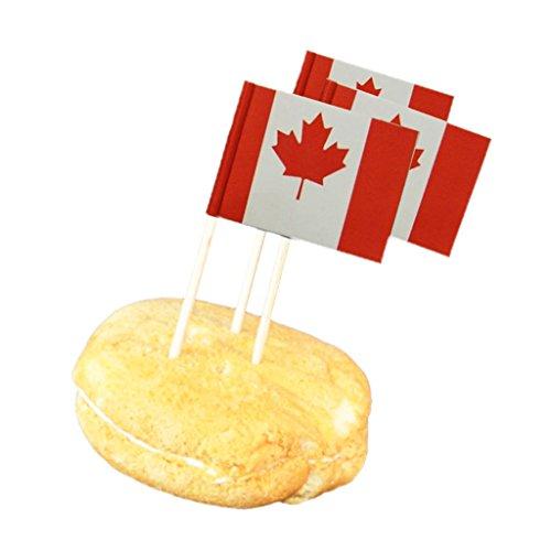 Sharplace 50x Land Flagge Picks Papier Zahnstocher Lebensmittel Kuchen Cocktail Dekor - Kanada, 3,5 cm x 2,5 cm