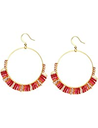 d757ca2d83bc UMCCC Pendientes Bohemian Rice Beads Tejidos Crystal Pendientes Stainless  Steel Circle