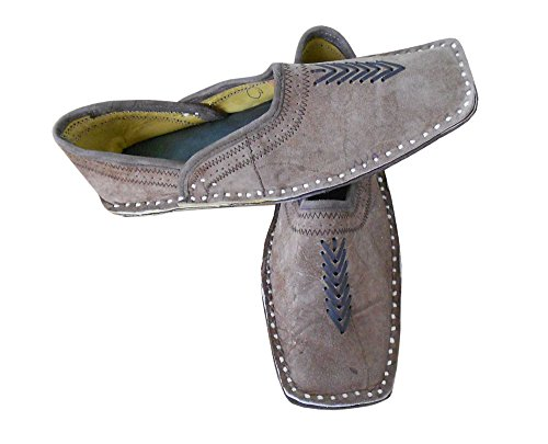 KALRA Creations Herren Schuhe Traditionell indische Slipper Leder Braun
