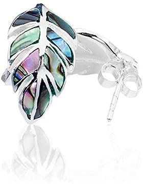 DTPsilver - Damen - Ohrringe 925 Sterling Silber mit Abalone Paua Muschel Blatt - Ohrstecker
