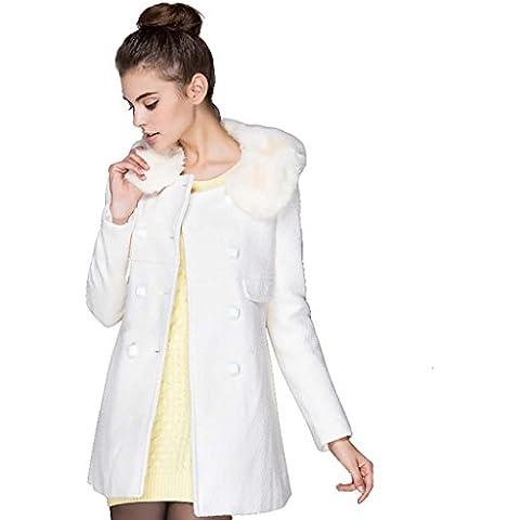 Creative Light- Cappotto femminile nel lungo tratto versione coreana maniche lunghe Coat Doppio Petto Solid vestiti di colore invernali ( dimensioni : M )