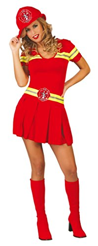 Ladies Sexy Red Firefighter Fireman Firewoman Hen Do Emergency Services Fancy Dress Costume Outfit 14-18 (UK 14-18) (Firewoman Kostüm)