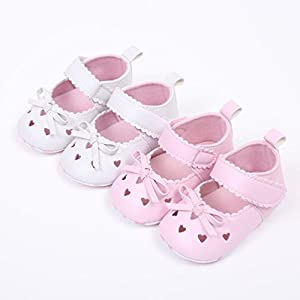 SHOBDW Girls Shoes, Newborn Infant Baby Girls Crib Soft Sole Anti-Slip Sneakers Cute Sweet Bowknot Shoes