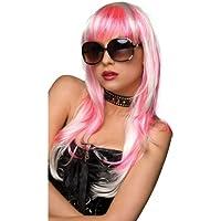 Pleasure Wigs Women's Courtney Wigs, One Size, White/ Hot Pink
