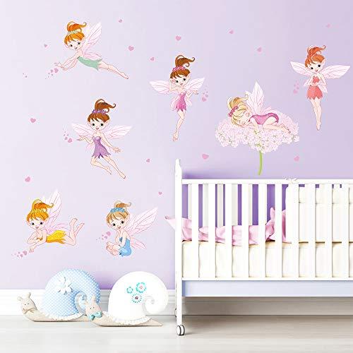 ufengke Pegatinas de Pared Hadas de Flores Vinilos Adhesivas Pared Corazón Rosa Decorativos para Dormitorio Habitación Infantiles Niñas