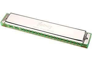 Juârez Blues Harmonica Mouth Organ 24 holes, 48 tones, Key of C with Blue Box (Silver/Green)