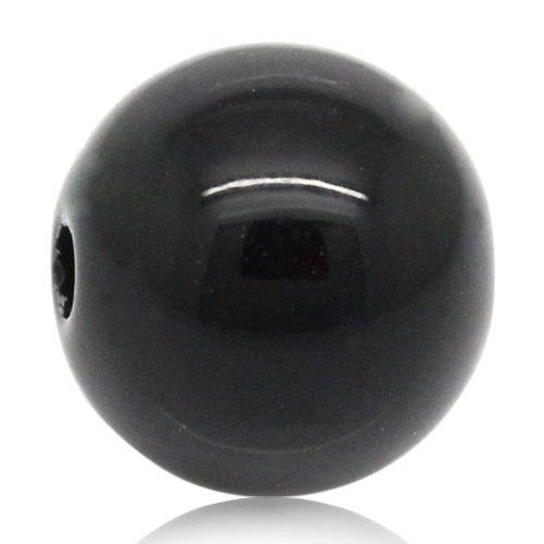 La Perle et bouton Boîte – 100 Noir brillant perles intercalaires, 8 mm. Fabrication de Bijoux, décoration, travaux manuels