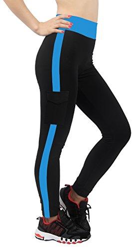 4How® Femme Leggings collant de Sport (en Liquidation de stock: Tous les Lot de 2pcs) Noir&Bleu foncé
