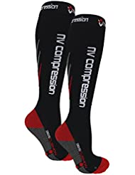 NV Compression 365 Cushion Calcetines Compresión Negros - Cushioned Compression Socks - Black - For Sports Recovery, Work, Flight - Running, Cycling, Soccer, Rugby, Fitness, Gym, Golf, Tennis, Triathlon (Negro/Rojo, Medium)
