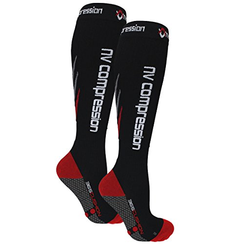 Nv compression 365 cushion calze a compressione - nero - cushioned socks (pair) 20-30mmhg - for sports recovery, work, flight - running, cycling, soccer, rugby, fitness, gym (nero/rosso, medium)