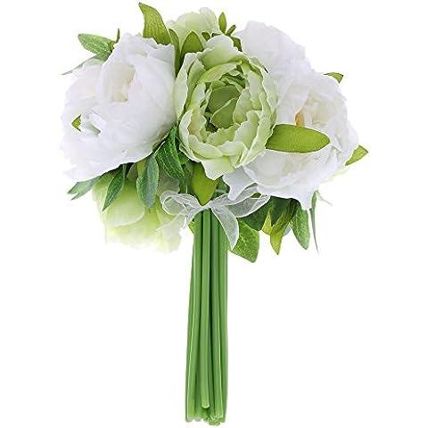 ANSELF - Peonías Artificiales Decorativas - Ramo de Flores de Decoración para Boda Fiesta Ceremonia Cumpleaños Hotel Casa Hogar