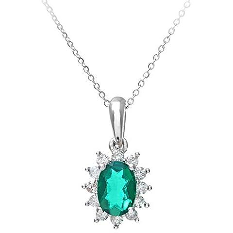 Naava Damen-Kette Smaragd 0,25 ct Grün Ovalschliff 46 cm