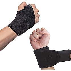 Hually Handgelenk Bandagen, (2er-Set) Verstellbare Handgelenkstütze mit Klettverschluss, Daumenbandage, Atmungsaktivem Handgelenk-Wickelband Bietet Handunterstützung für Fitness, Gewichtheben, Schwarz