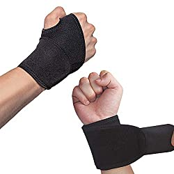 Hually wrist bandages, (set of 2) adjustable wrist support with Velcro fastener, thumb bandage, breathable wrist wrapping band Provides hand support for fitness, weight lifting, black