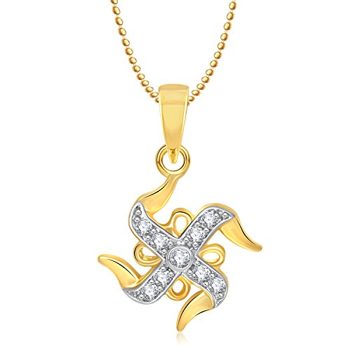 Meenaz Swastik Religious God Pendant Gold Plated Cz In American Diamond With Chain For Man & Women,Girls GP223