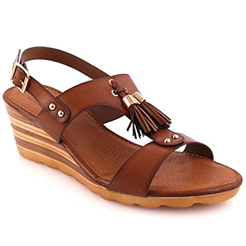Unze Women Jenn Party Get Together Carnival Low Heel Wedge Sandals - Brown - 7 UK